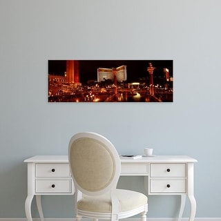 Easy Art Prints Panoramic Image 'Hotel lit up at night, The Mirage, The Strip, Las Vegas, Nevada, USA' Canvas Art