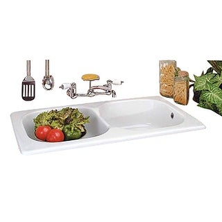 Renovator's Supply Kitchen Drop-In Counter Sink Italian Porcelain Double Basin