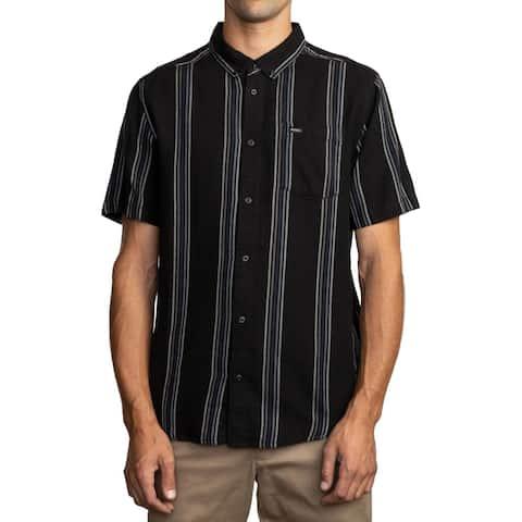 RVCA Mens Button-Down Shirt Cotton Striped