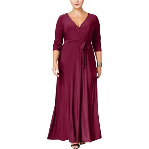 Love Squared Womens Plus Maxi Dress Surplice V-Neck