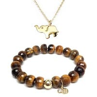 "Brown Tiger's Eye 7"" Bracelet & CZ Elephant Gold Charm Necklace Set"