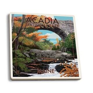 Acadia National Park, ME Stone Bridge - LP Artwork (Set of 4 Ceramic Coasters)