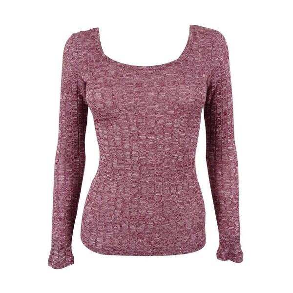 Ultra Flirt Juniors' Space Dyed Ballet Neck Sweater Top