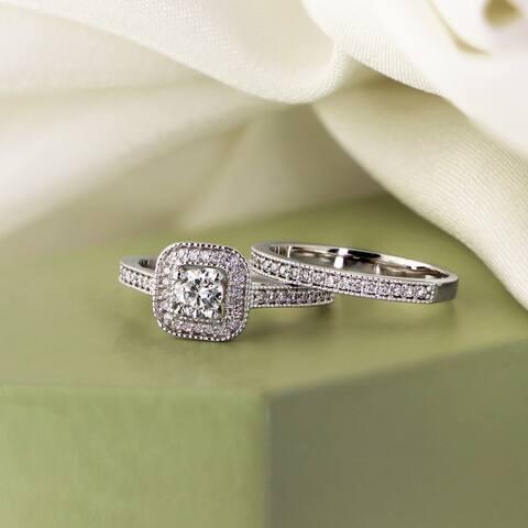 Auriya 14k Gold 1ctw Vintage Halo Diamond Engagement Ring Set