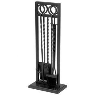 Panacea 15095 Modern Twist Style Fireplace Tool Set, Black, 5-Piece