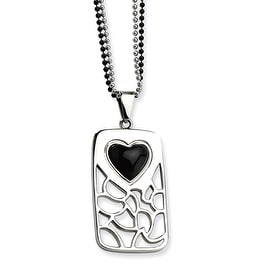 Chisel Stainles Steel Black Onyx Heart Pierced Dogtag 28 Inch Double Chain Necklace (2 mm) - 28 in