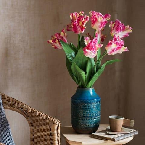 "RusticReach Silk Flower Flame Tulip Flower Stem 24"" Tall"
