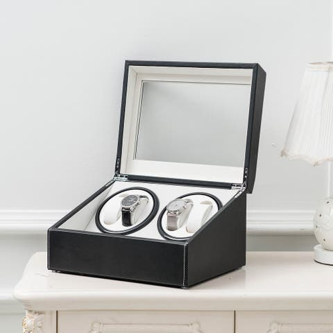 Black Leather Watch Storage Automatic Rotation Display Case Box - N/A