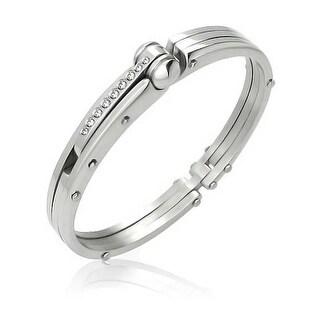 Bling Jewelry Stainless Steel CZ Handcuff Bangle Secret Shades Bracelet