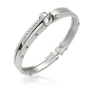 Bling Jewelry Stainless Steel CZ Handcuff Bangle Secret Shades Bracelet