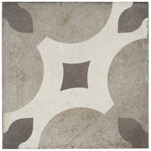 Porcelain Cement Look 8 x 8 inch Cool Blend Decorative Tile in Piccolo Fiore