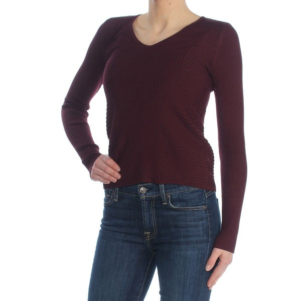 15cde5e3 Shop INC Womens Burgundy Ribbed Long Sleeve V Neck Tunic Wear To Work  Sweater Size: XS - Free Shipping On Orders Over $45 - Overstock - 27765362