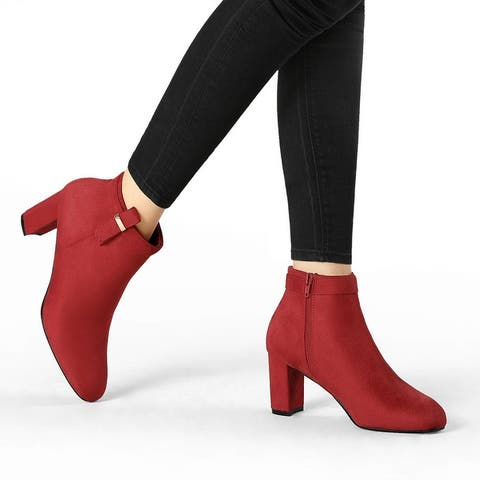 Women's Rounded Toe Chunky High Heels Ankle Booties