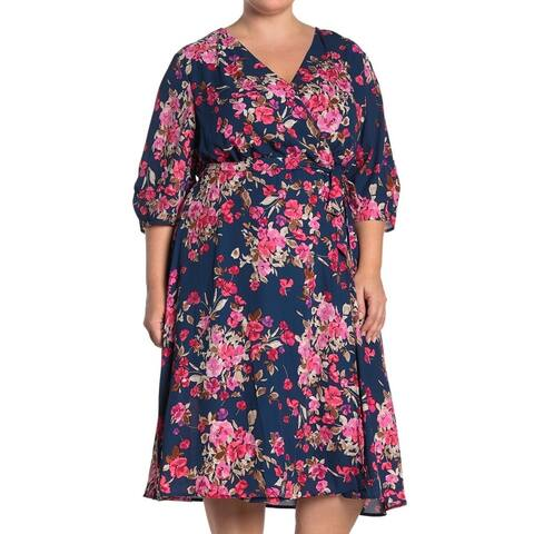 Bobeau Women's Dress Blue Size 1X Plus Sheath Floral Ruched Surplice