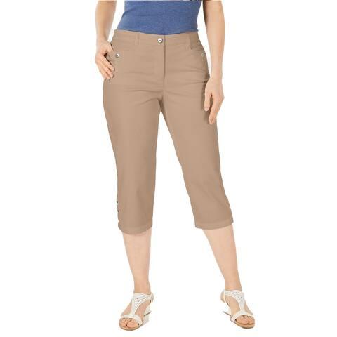 Karen Scott Women's Button-Cuff Capri Pants Brass Iron Size 6 - Brown