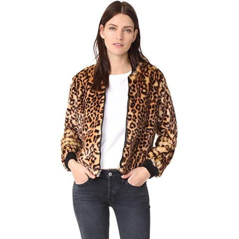 Splendid Women's Leopard Faux Fur Bomber Jacket, Tank, Small