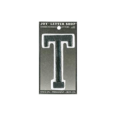 "Joy Applique Letter Iron On Varsity 3"" Black T"