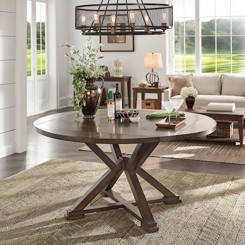 Garrison Espresso Convertible Dining Table with Lazy Susan by iNSPIRE Q Modern