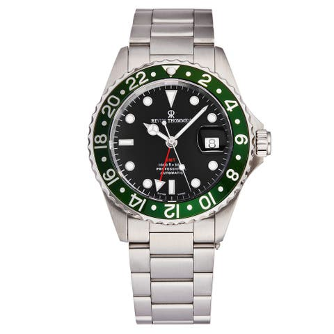 Revue Thommen Men's 17572.2134 'Diver' Black Dial Green Bezel GMT Professional Automatic Watch