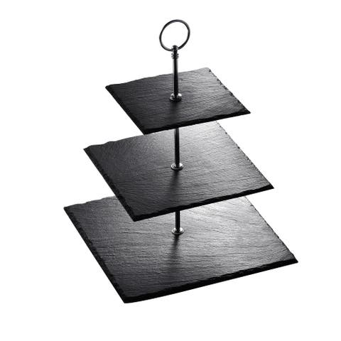 MALACASA, Series Sweet.time, 3-Tiered Cupcake Tower Stand Slate Serving Trays Dessert Stand - 8' x 10'