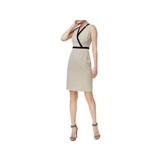 Calvin Klein Womens Wear to Work Dress Contrast Trim V Neck - 14