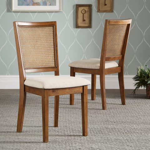 Eleanor Beige Linen Rattan Back Dining Chairs (Set of 2) by iNSPIRE Q Classic - Set of 2
