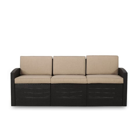 Heald Outdoor Faux Wicker 3 Seater Sofa with Cushions by Christopher Knight Home