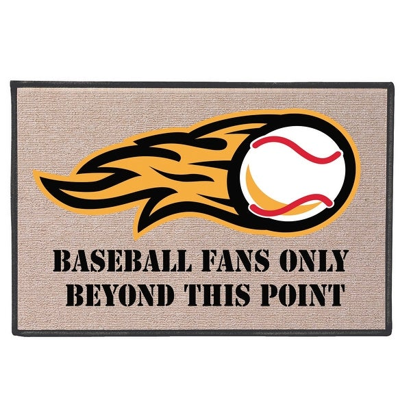 """What on Earth Baseball Fans Only Beyond This Point Welcome Mat - Natural Olefin Doormat, 27"""" x 18"""" - 27 in. x 18 in. x 1 in."""