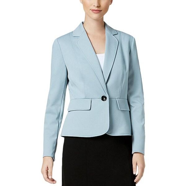 Kasper Womens Lisbon One-Button Blazer Peplum Office