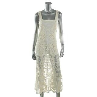 Ella Moss Womens Embroidered Sleeveless Dress Swim Cover-Up - S