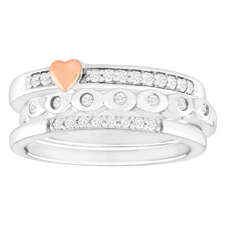 1/5 ct Diamond Stackable Rings in Sterling Silver & 14K Rose Gold