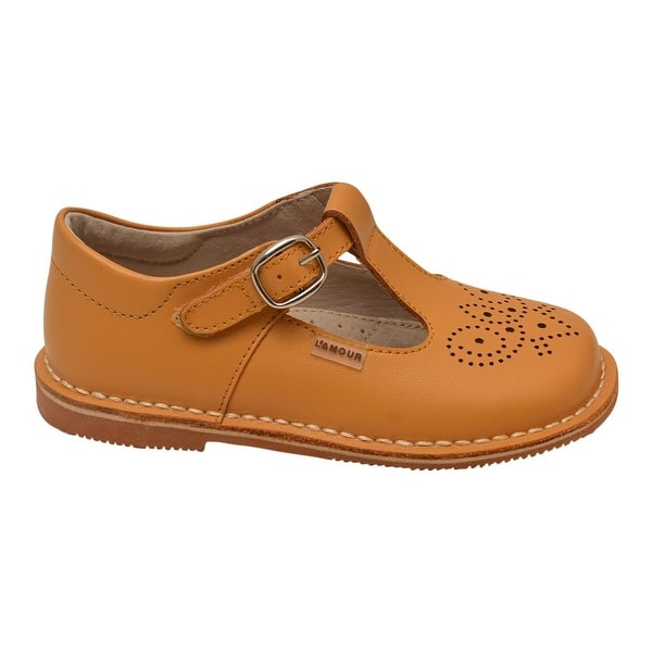 LAmour Girls Mustard T-Strap Perforated Stitch Down Leather Shoes 11 Kids