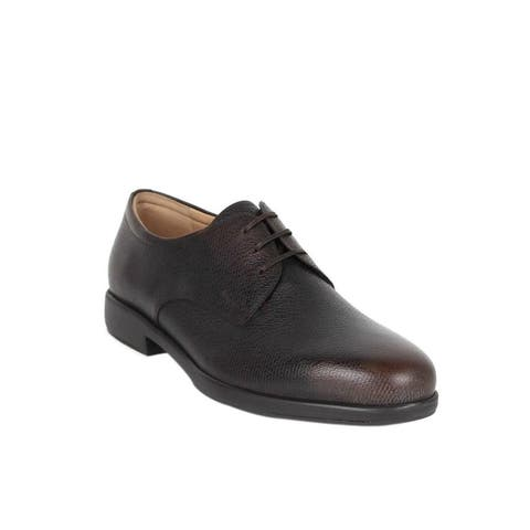 Salvatore Ferragamo Men's Fulvio Dark Brown Pebble Leather Oxford Shoes 659384