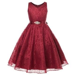 Flower Girl Dress V-Neck Lace Rhinestone Brooch Burgundy GG 3511