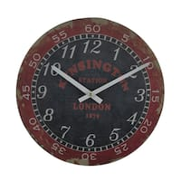London Kensington Station Distressed Vintage Finish Round Wooden Wall Clock - 11.5 X 11.5 X 1 inches