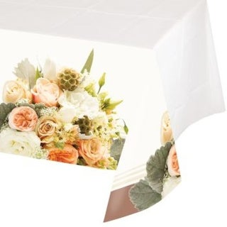 "Club Pack of 6 Rose Gold Bouquet Disposable Bordered Plastic Tablecloth 54"" x 102"""
