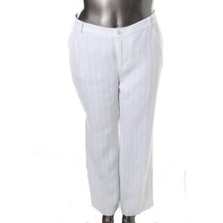 Lauren Ralph Lauren Womens Plus Andover Linen Pinstripe Wide Leg Pants - 16W