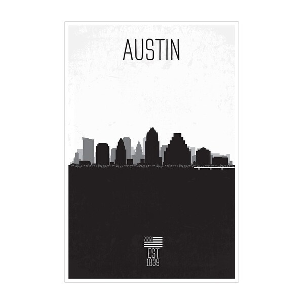 Austin Distressed Skyline Art Matte Poster 16x24 Black & White