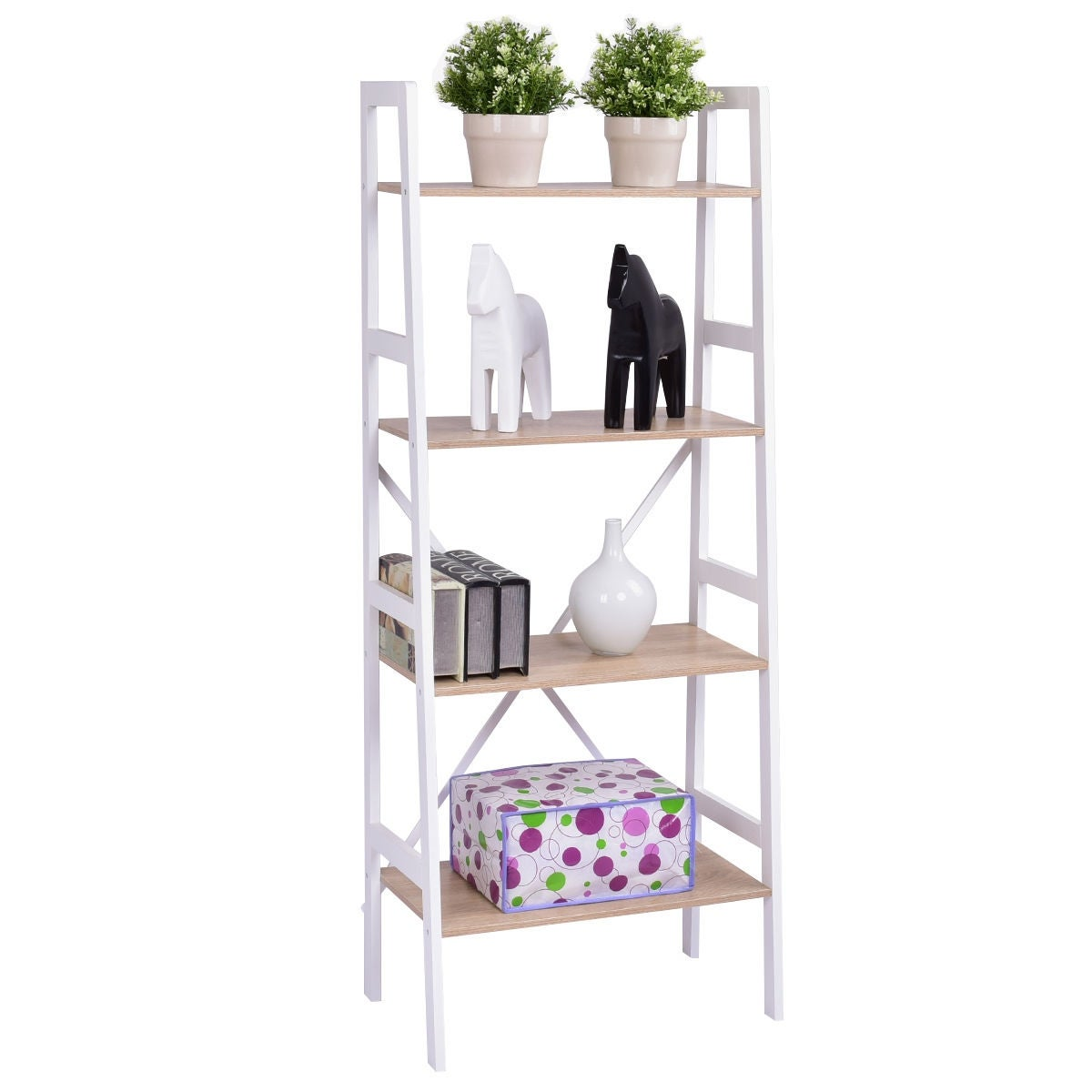 4 Tier Ladder Wall Stand Display Bookshelf Bookcase Storage Shelves Book Rack