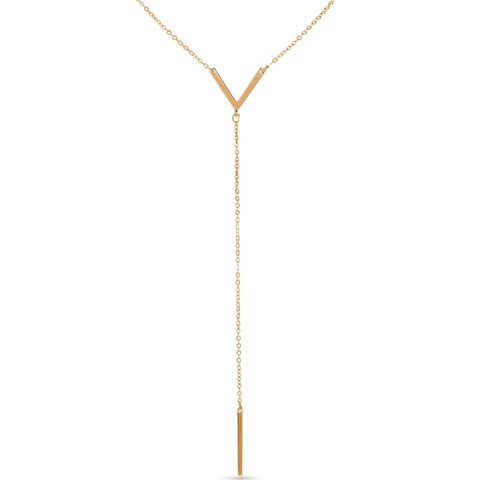 Humble Chic Women's Y-Chain Bar Necklace - Adjustable Long Thin Delicate Chevron Choker Lariat