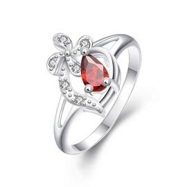 Diamond Shaped Ruby Clover Stud Classic Ring