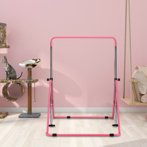 Ainfox Gymnastics Bar for 3-7 Year Old Kids Adjustable Foldable Home Gym Equipment