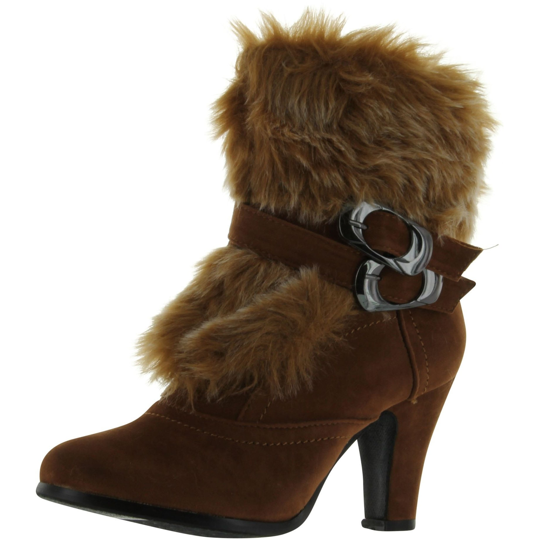 Dark Blue Women Black Ankle Fur Trim Boots Lace-up Suede High Heel Casual Shoes