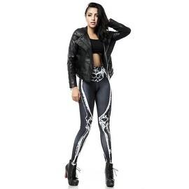 Fashion Lady Pattern Printed Black Skeleton Stretch Tight Leggings Skinny Pants