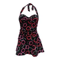 Retro Feel Bandeau Twist Front Halter Tie Swimdress in Black & Red