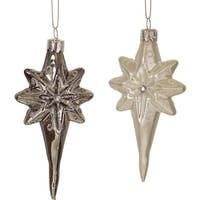 "Club Pack of 12 Shatterproof Decorative Christmas Indoor Outdoor Frosted White and Black Icicle Star Ornaments 4.5""H"