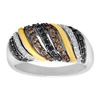 1/2 ct Black, Champagne and White Diamond Ring in Sterling Silver and 14K Gold