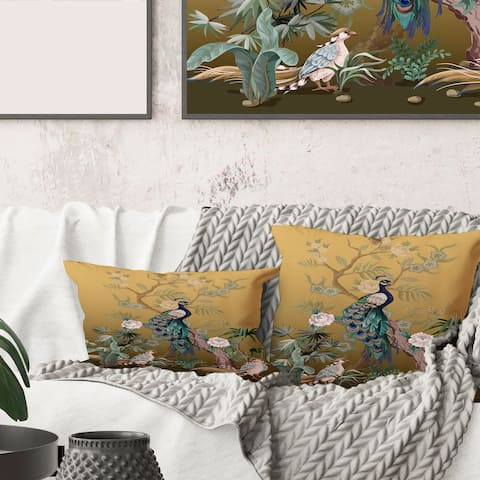 Designart 'Chinoiserie With Birds and Peonies VI' Traditional Printed Throw Pillow