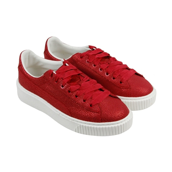 3484813554d2 Puma Basket Platform Lux Womens Red Patent Leather Lace Up Sneakers Shoes