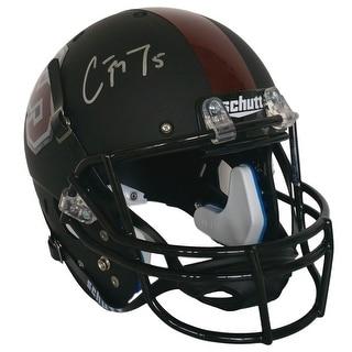 Christian McCaffrey Signed Stanford Full Size Black Schutt Replica Helmet JSA